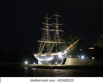 Replica of the Brig Amity at night in Albany, Western Australia