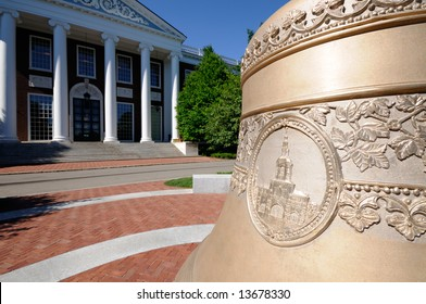 Replica of Centennial Bell in front of Baker Library at Harvard Business School (the original is in cupola on top of the building)