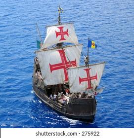 A replica of Christopher Columbus' ship Santa Maria ...