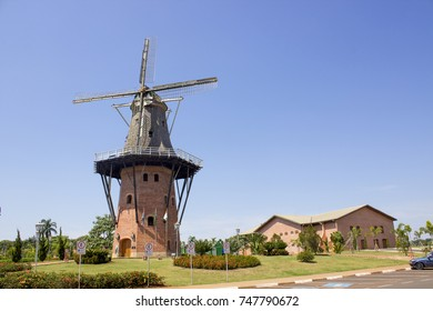 Replica of a Dutch mill in Holambra, Brazil. Holambra is known for its flower production and dutch immigrant citizens.