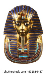 Replica of funerary mask of Tutankhamun. Isolated on white background. The same or very similar to the original