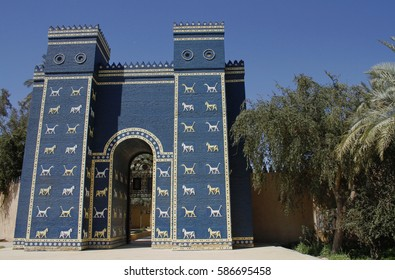 Replica of the Ishtar gate at the entrance of Babylon, Iraq.