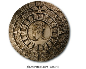 Replica Mayan Calendar on white.