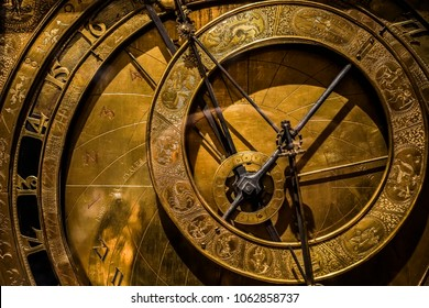 replica of a medieval astrolabe which is a navigation instrument capable of 43 different astronomical calculations.