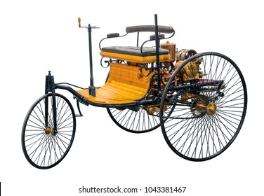 replica of a old historic vehicle named patent motorcar isolated in white back