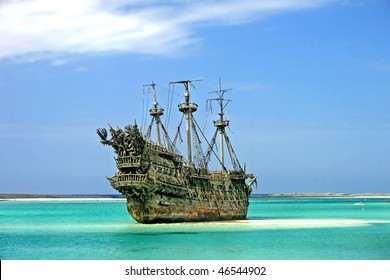 A replica of an old ship in the Caribbean.