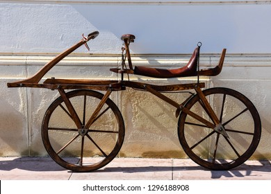 Replica of one of first bycicle. Dandy horse.