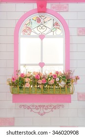 A Replica of Pink Beautiful Window Decoration with artificial colorful roses and vintage white brick wallpaper, sweet princess style interior decoration
