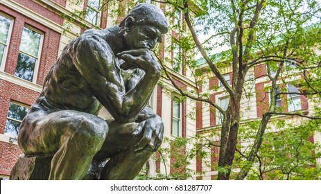 "Replica of Rodin's ""The Thinker"" on the campus of Columbia University, New York City"
