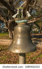 Replica of the ship's bell of HMS Beagle in Civic Park, Darwin, Australia. Part of the HMS Beagle ship's bell chime instrument.