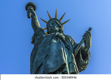 The replica of the Statue of Liberty (1889) on the Ile aux Cygnes (Isle of the Swans) in Paris, France.