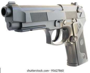 Replica steel handgun isometric view isolated on the white