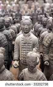 Replica of terracotta warriors found in Xian, China.
