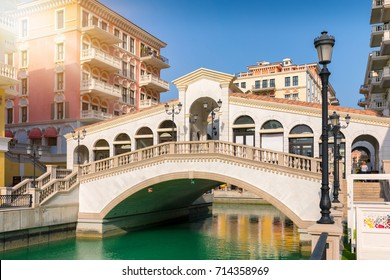 Replica of a venetian bridge in the Qanat Quartier on the Pearl in Doha, Qatar
