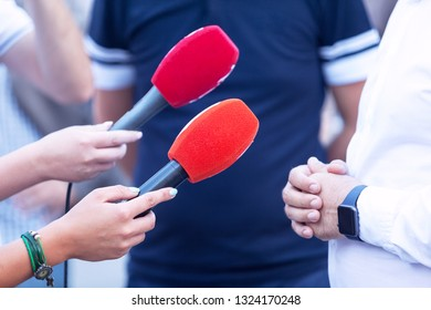 Reporters making press or media interview