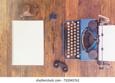 Reporters Typewriter and Tools. Top View.