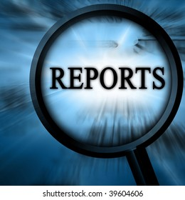 reports on a blue background with a magnifier