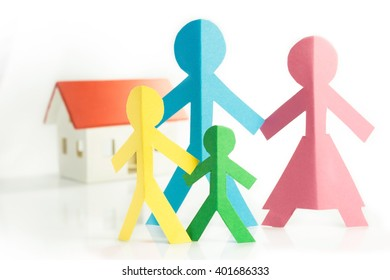 representation of the family with colorful paper figures