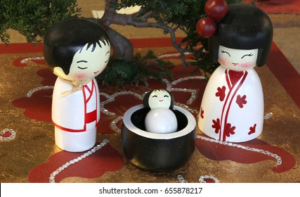 Representation in the Japanese style of Nativity Scene with statuettes of Holy family