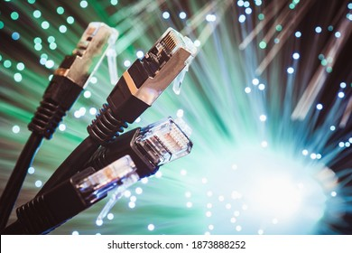 Representation of the most current method of connectivity to the Internet and spread of the flow of information data. Copper Ethernet technology and optical fiber technology