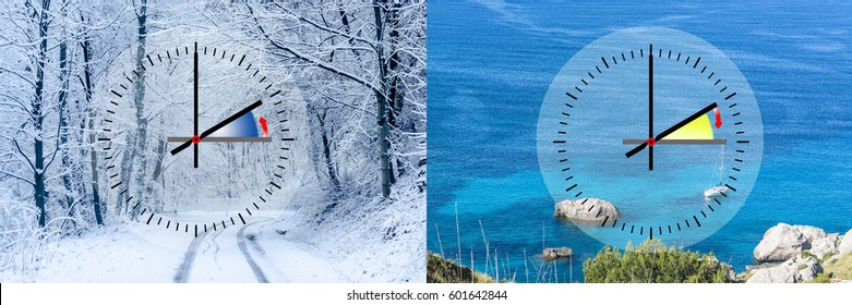 Representation of winter time vs. summer time, digits with minute hand and red second hand. Copy space in front of sky and cloud background.