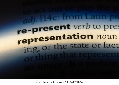 representation word in a dictionary. representation concept.