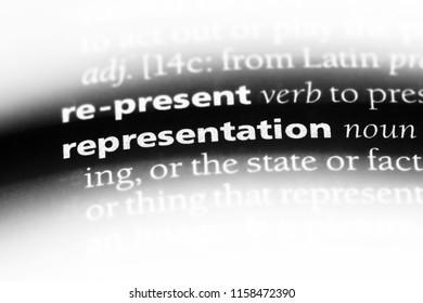 representation word in a dictionary. representation concept.