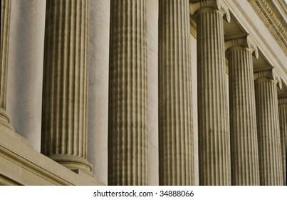 Representative classic architecture of financial institution.