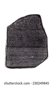 a reproduction of the famous rosetta stone isolated over a white background