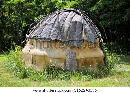 Reproduction of a Powhatan dwelling.