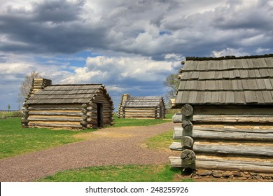 Reproductions of cabins used by Revolutionary War soldiers during the winter of 1777-78 under the command of George Washington. Located in Valley Forge National Historical Park, Pennsylvania, USA.