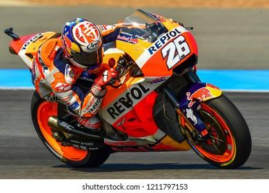 Repsol Honda Team Spanish rider Dani Pedrosa in action during the Free Practice The PTT Thailand Grand Prix - MotoGP at Chang International Circuit on October 5, 2018 in Burirum ,Thailand