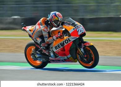 Repsol Honda Team Spanish rider Dani Pedrosa no.26 in action during The PTT Thailand Grand Prix - MotoGP at Chang International Circuit on October 7, 2018 in Burirum ,Thailand
