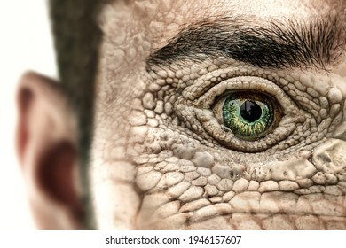 Reptilian humanoid. Reptiloid as science fiction character or reptilian conspiracy theory concept.