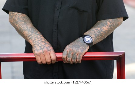 the Republic of Altai,Russia-September 6, 2019. Hands of prisoners in a Russian prison