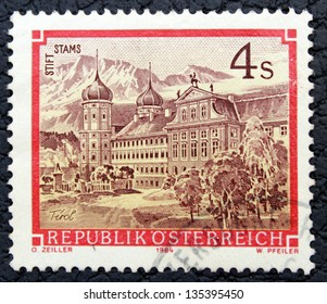 Republic of Austria - CIRCA 1984: A stamp printed in the Republic of Austria, shows a  engraved picture of ancient palace, circa 1984
