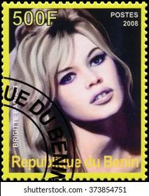 REPUBLIC OF BENIN - CIRCA 2008: a stamp printed in Republic of Benin shows Brigitte Bardot