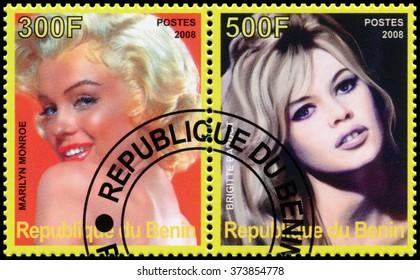 REPUBLIC OF BENIN - CIRCA 2008: a stamp printed in Republic of Benin shows Marilyn Monroe and Brigitte Bardot