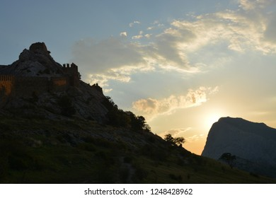 Republic of Crimea, Sudak - October 03, 2018: Genoese fortress - a fortress built by the Genoese as a stronghold for their colony in the northern Black Sea coast, is located on the fortress hill (heig