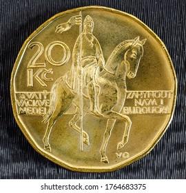 Republic czech twenty crown coin with St Wenceslas figure on horse