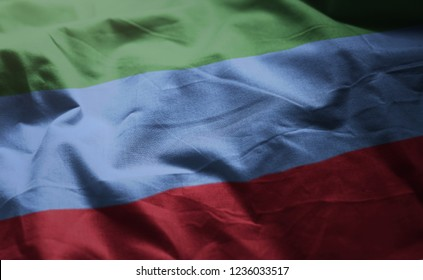 Republic of Dagestan Flag Rumpled Close Up