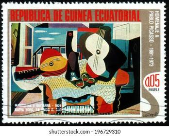 Republic of Equatorial Guinea - CIRCA 1988: A stamp printed in Republic of Equatorial Guinea shows paint by Pablo Picasso, circa 1988