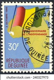 REPUBLIC OF GUINEA - CIRCA 1962: A stamp printed in Republic of Guinea, shows water drops, circa 1962