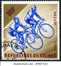 "Republic of Guinea - CIRCA 1965: A stamp printed in Republic of Guinea shows a series of images of ""Sport competitions"", circa 1965"