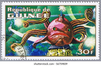 REPUBLIC OF GUINEA - CIRCA 1972: A stamp printed in Republic of Guinea shows underwater imaginary creature, series, circa 1972
