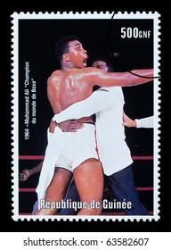 REPUBLIC OF GUINEA - CIRCA 2000: A postage stamp printed in Guinea showing  Muhammad Ali, circa 2000