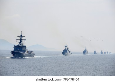 Republic of Korea navy warship and  Aircrafts are saluting at the naval review on the Yeosu sea, During the Yeosu Expo on June 16, 2012