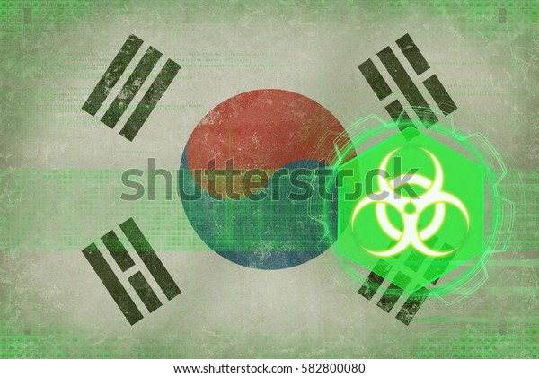 Republic of Korea (South Korea) biohazard threat. Virus threat concept.