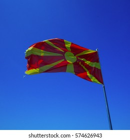Republic of Macedonia flag on the mast