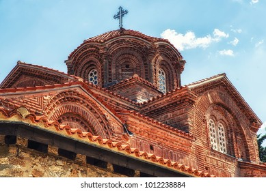 Republic of Macedonia, Ohrid ,Church of the Holy Mother of God Perivleptos (Sv. Kliment), Ohrid, Macedonia . Ohrid is both a UNESCO World Heritage Cultural and Natural site.